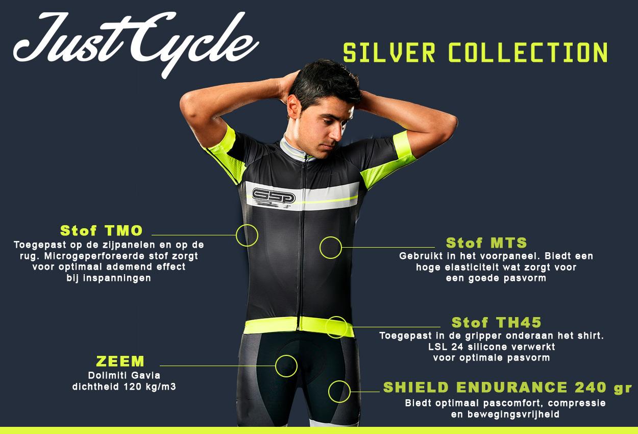 De Just Cycle Silver Collection is ontwikkeld voor zowel wedstrijdrenners als toerrijders. De kleding wordt vormgegeven in de stijl van uw team of bedrijf!