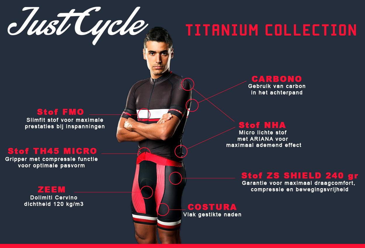 De exclusieve Just Cycle Titanium Collection is ontworpen voor fietsers en wielrenners die het maximale van hun kleding eisen.